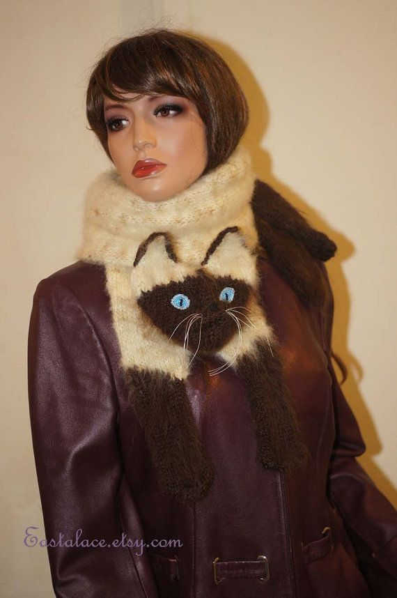 Mohair Long Scarf Siamese Cat Scarf Knitting Cat Scarf Animal ...