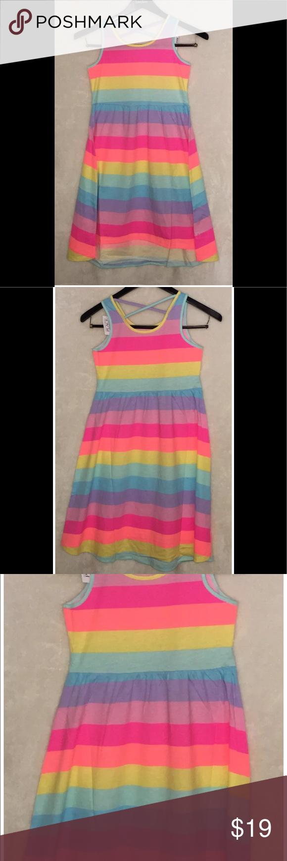 c06eba10f87a Children's Place Girls Rainbow Stripe Cross-Back Brand new Children's Place  Girls Sleeveless Rainbow Stripe Cross-Back Hi-Low Maxi Dress Size XL (14).