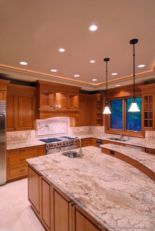 Best Traditional Medium Wood Golden Kitchen Cabinets 07 400 x 300
