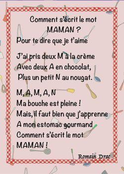 Poème Pour Maman Gourmande La Classe De Luccia Poeme