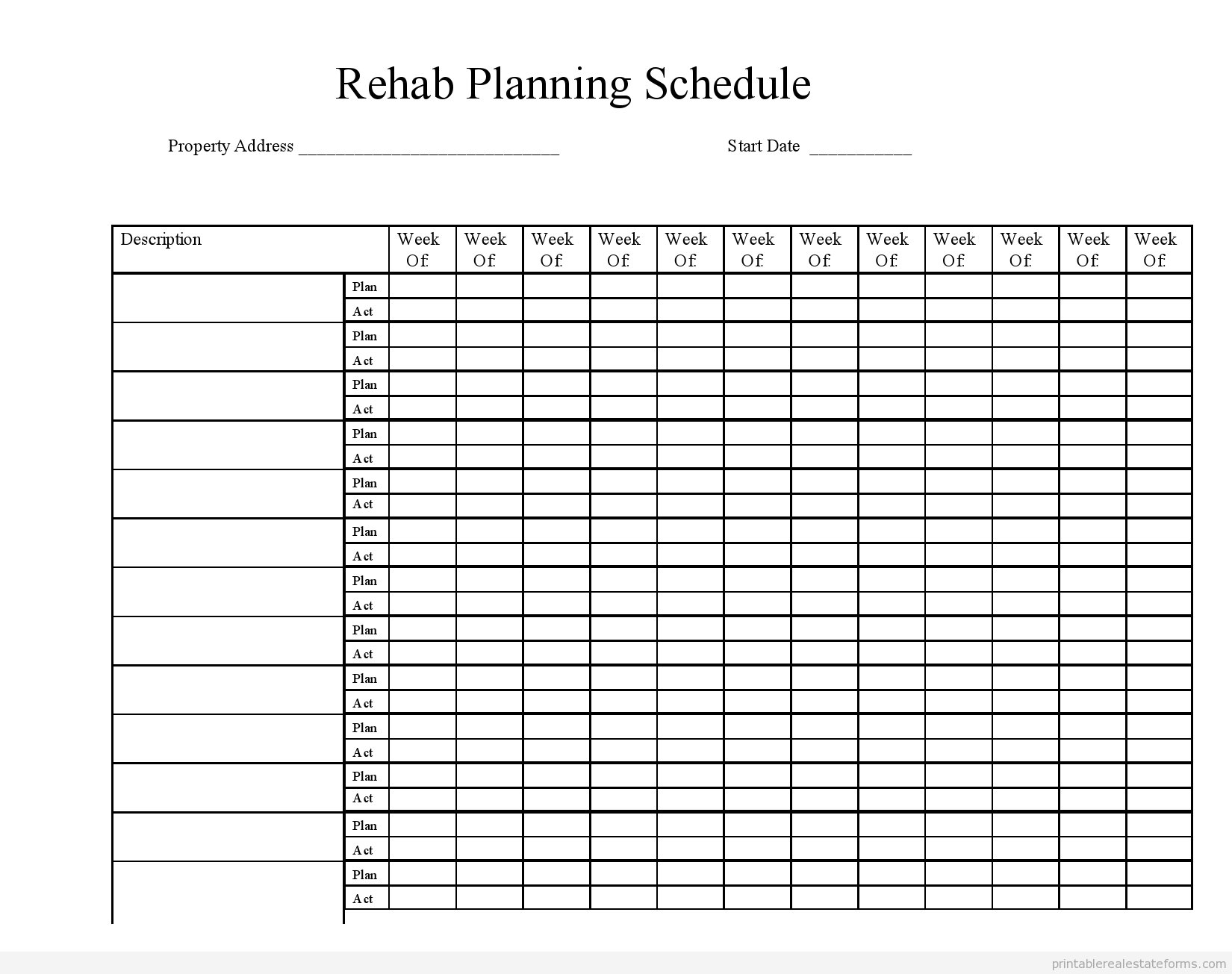 Sample Printable Rehab Planning Schedule Form  Printable Real