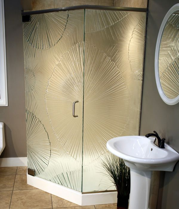 This Asian style shower door is a gorgeous accent to any bathroom