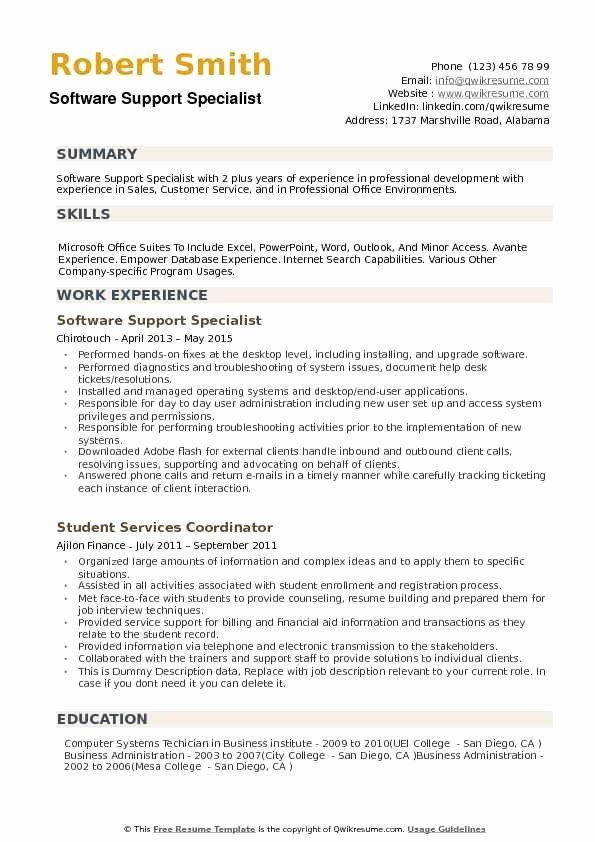 Customer Support Specialist Resume Awesome Software Support Specialist Resume Samples In 2020 Resume Examples Sales Resume Examples Security Resume