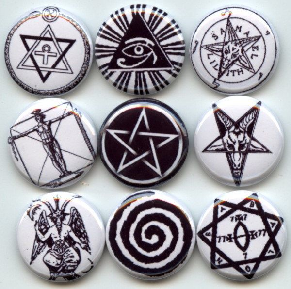 OCCULT ancient SYMBOLS Signs pagan wicca 9 Pinback 1 ...