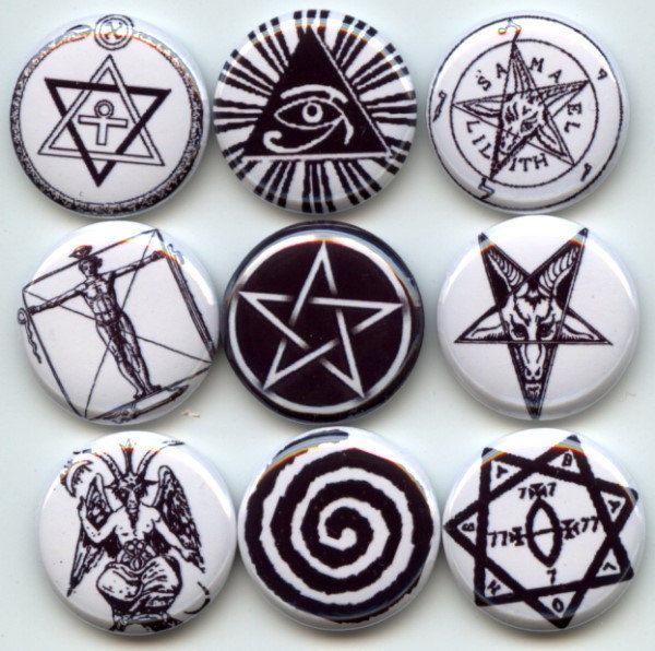 OCCULT ancient SYMBOLS Signs pagan wicca 9 Pinback 1 ...
