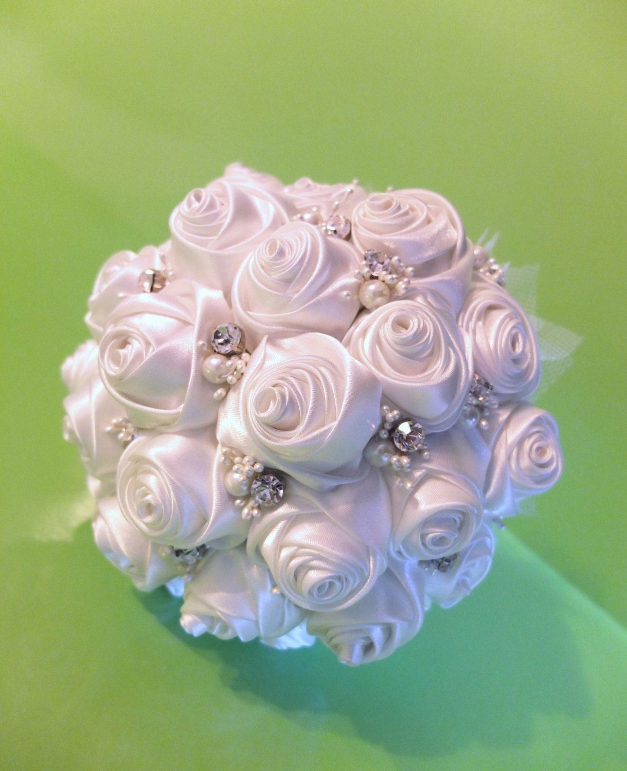 Handmade Ribbon Rose Bouquet White Rose Accented With Rhinestone