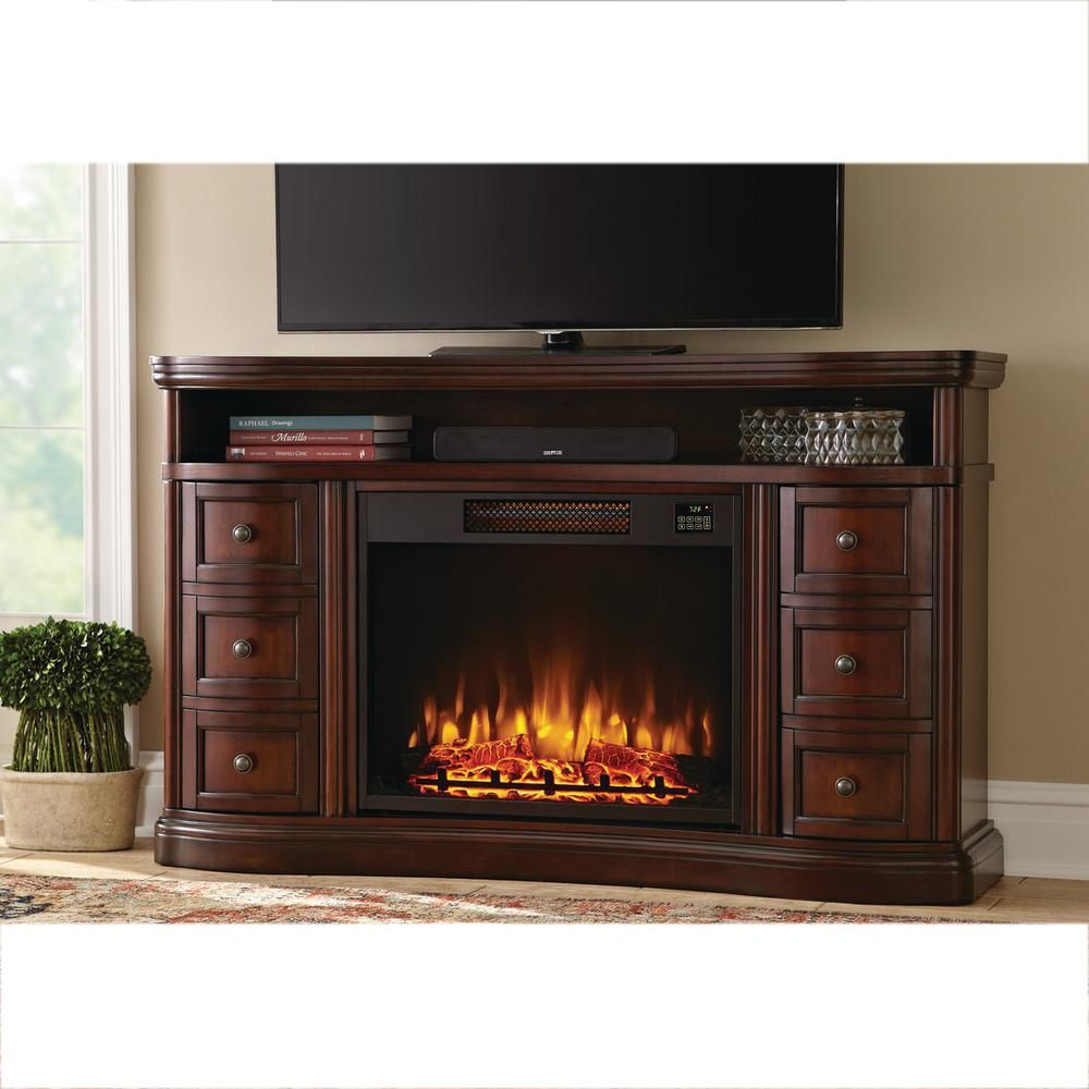 Charleston 60 Inch Tv Stand Electric Fireplace In Brown Dark Cherry