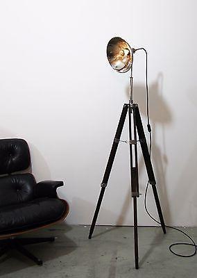 Luxury Tripod Steh Foto Studio Lampe Holz Stativ Vintage Leuchte Dreibein Retro Shabby