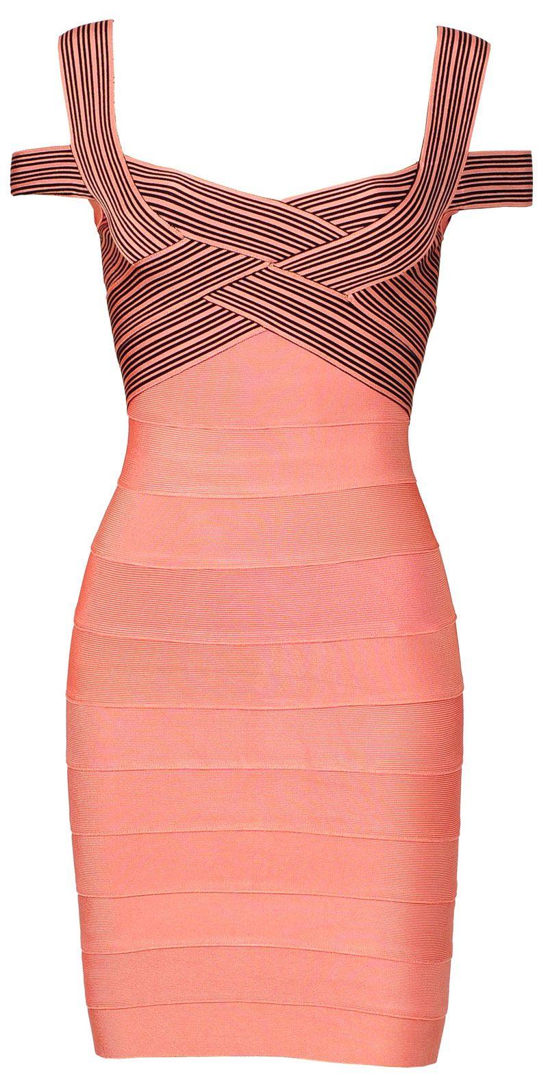 Natasha\' Rose Pink & Black Cross Bust Bandage Bodycon Dress, celeb ...