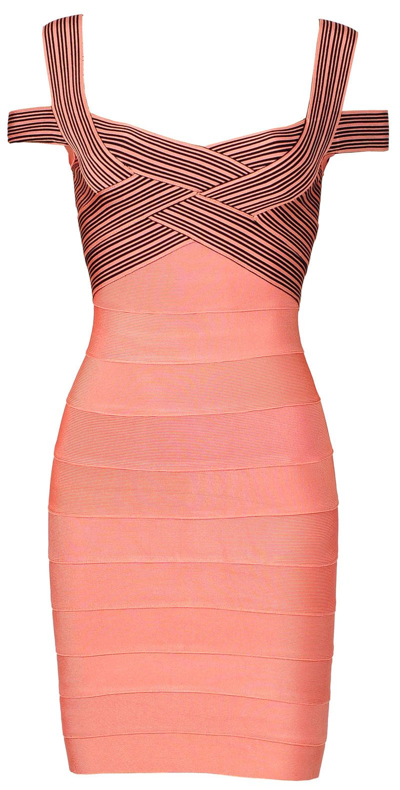 Natasha\' Rose Pink & Black Cross Bust Bandage Bodycon Dress ...