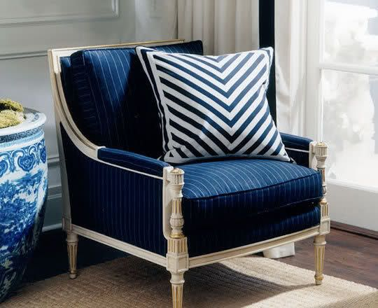Ralph Lauren Interiors Accent Chair Navy Blue And White Here