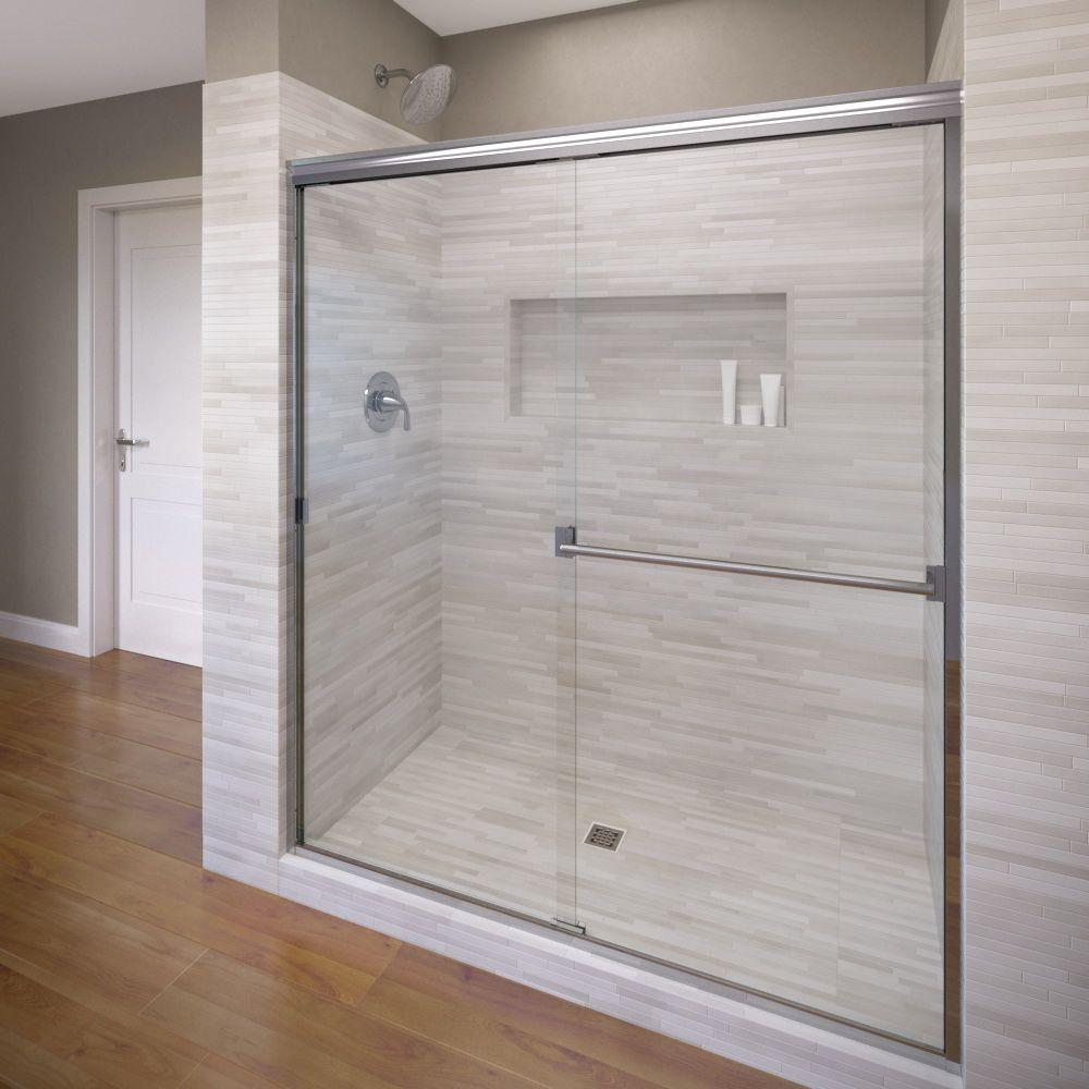 Basco Classic 44 In X 65 1 2 In Semi Frameless Sliding Shower Door In Chrome Clch05a4465clsv The Home Depot Shower Doors Semi Frameless Shower Doors Frameless Sliding Shower Doors