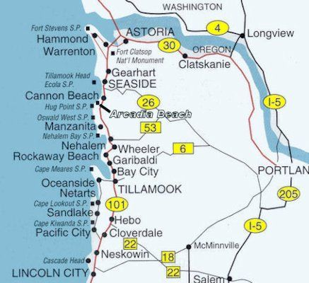 Oregon North Coast Map 1 Astoria To Lincoln City Oregon Rockaway Beach Nehalem Bay