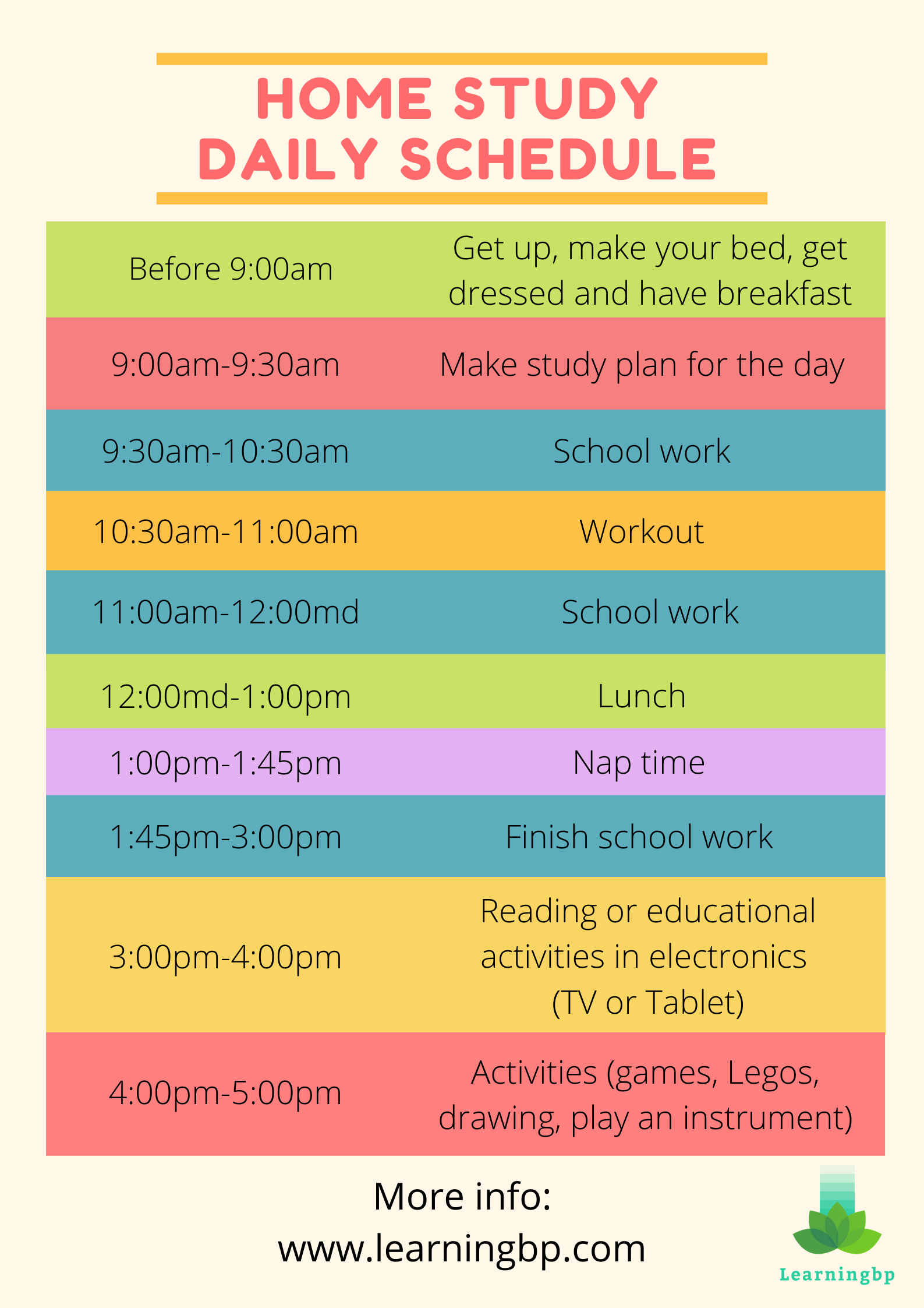 Home Study Daily Schedule In 2020 School Schedule Online School Organization School Routines