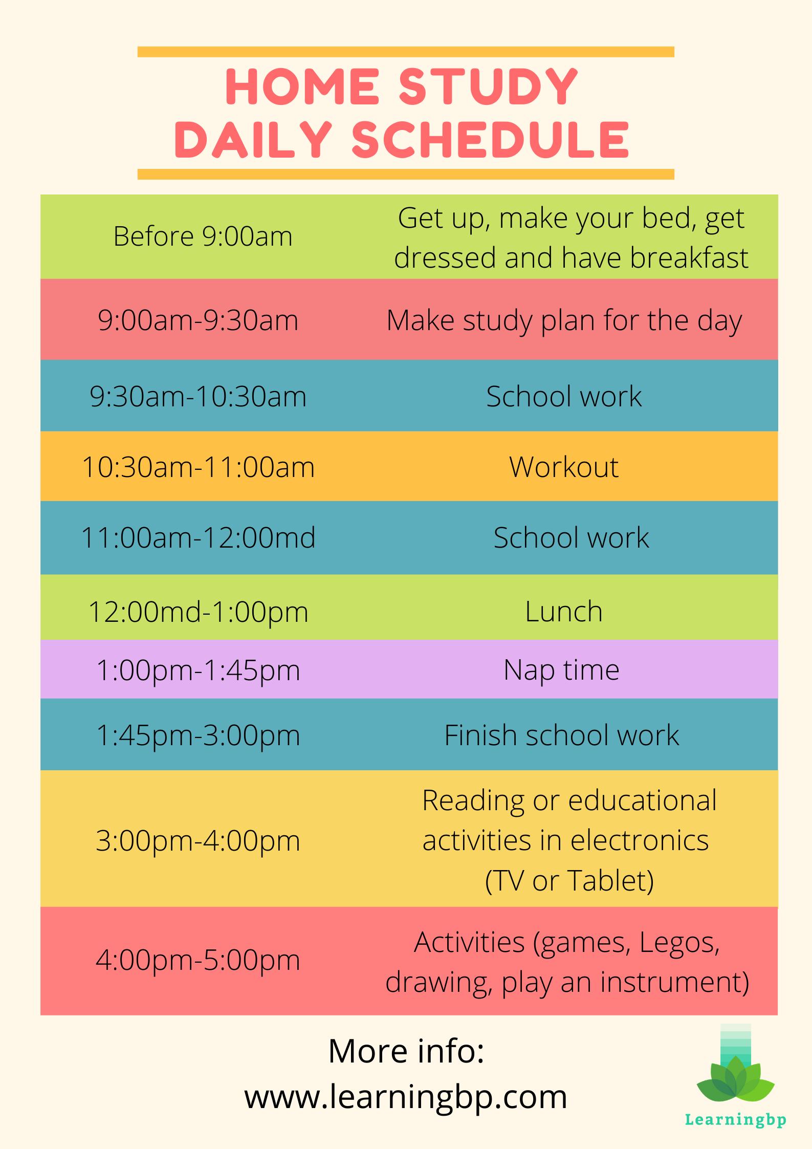 Home Study Daily Schedule In 2020 School Schedule Online School Organization School Routines