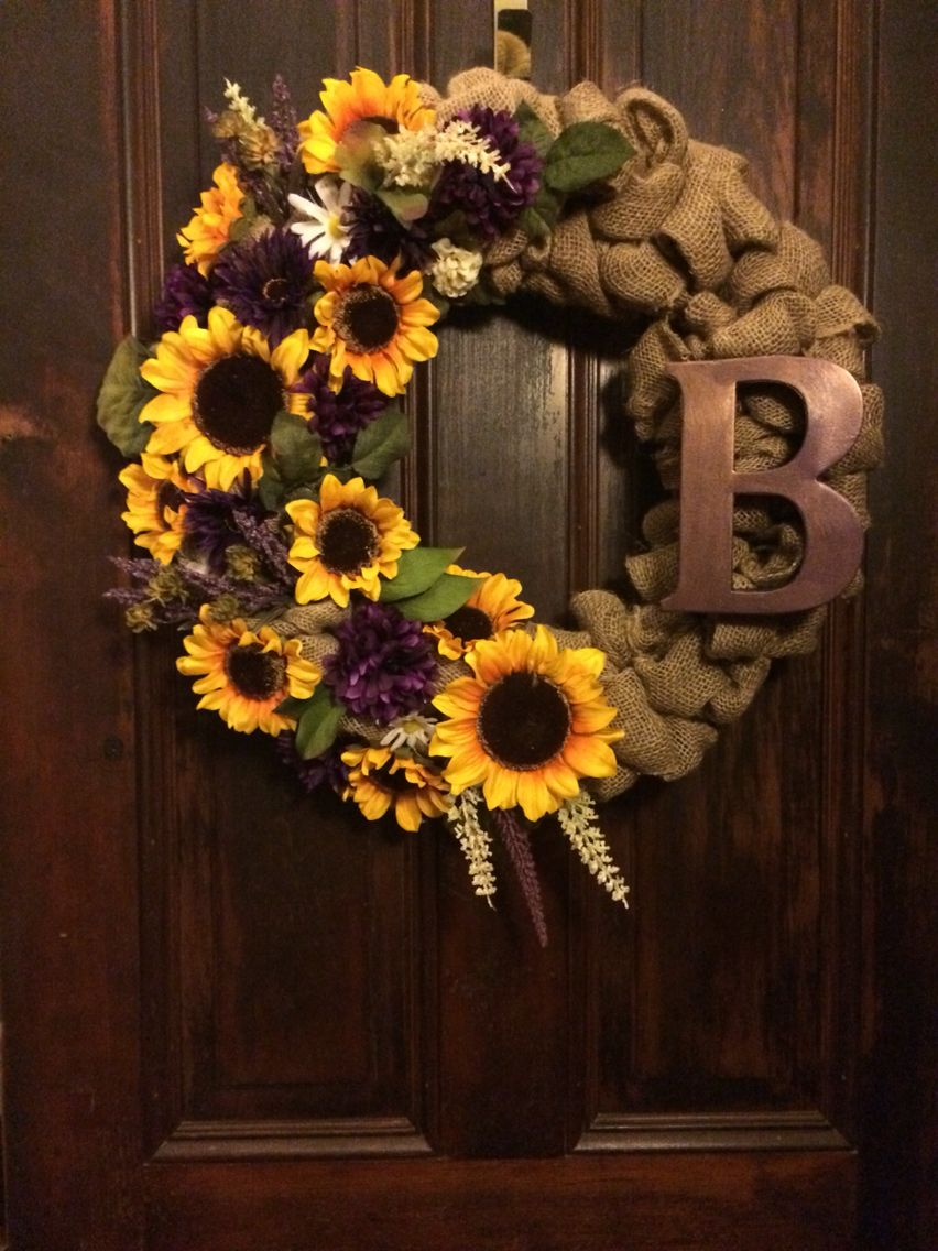 Hmh wellness design custom made burlap and sunflower for How to make christmas door wreaths
