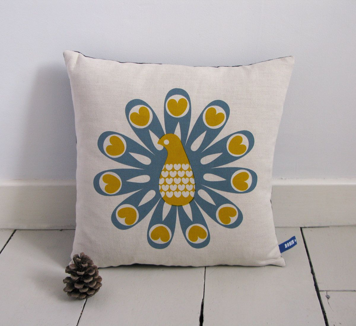 Hand Screen Printed Peacock Cushion Cover in Grey von robinandmould