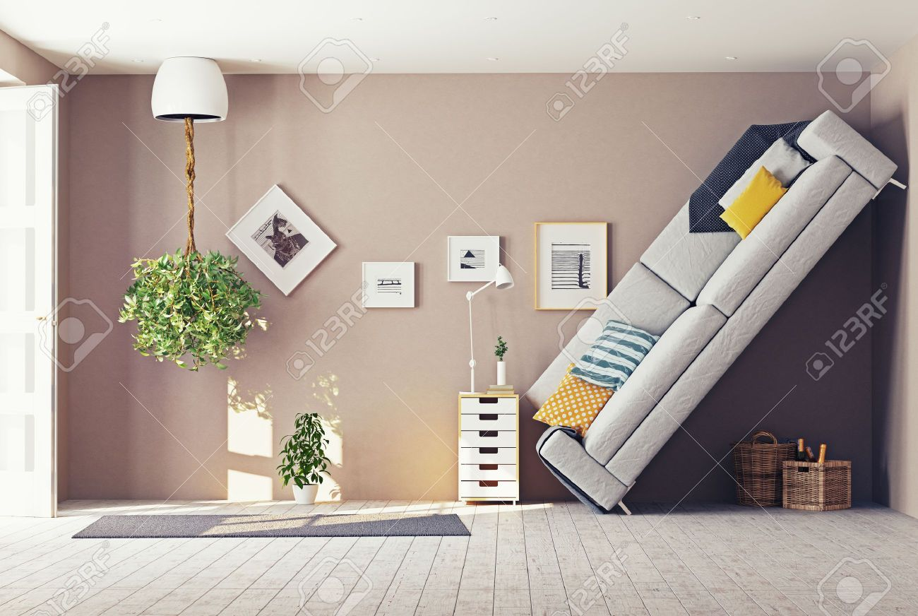 43295104-strange-living-room-interior-3d-design-concept-Stock-Photo ...