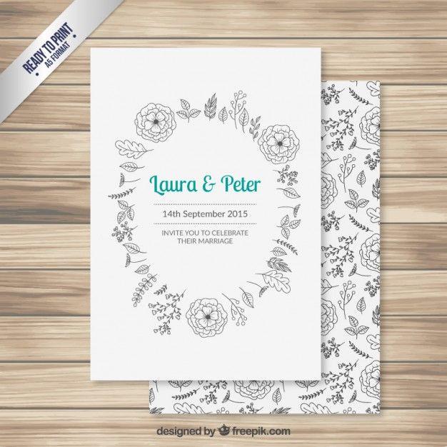 Wedding invitation with hand drawn flowers בלוגים עיצוב - fresh invitation banner vector