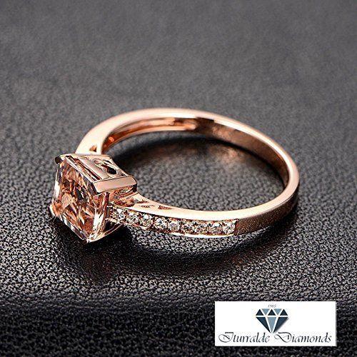 Amazon.com: 14k Asscher Cut Morganite Engagement Ring With Matching Pave Diamond Band: Handmade