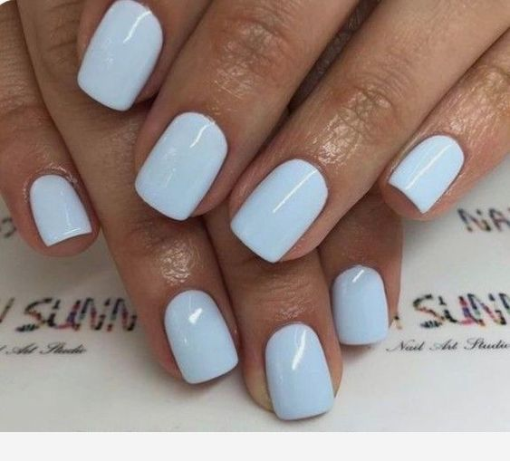 Light Blue Short Nails In 2020 With Images Short Gel Nails Simple Nails Blue Gel Nails