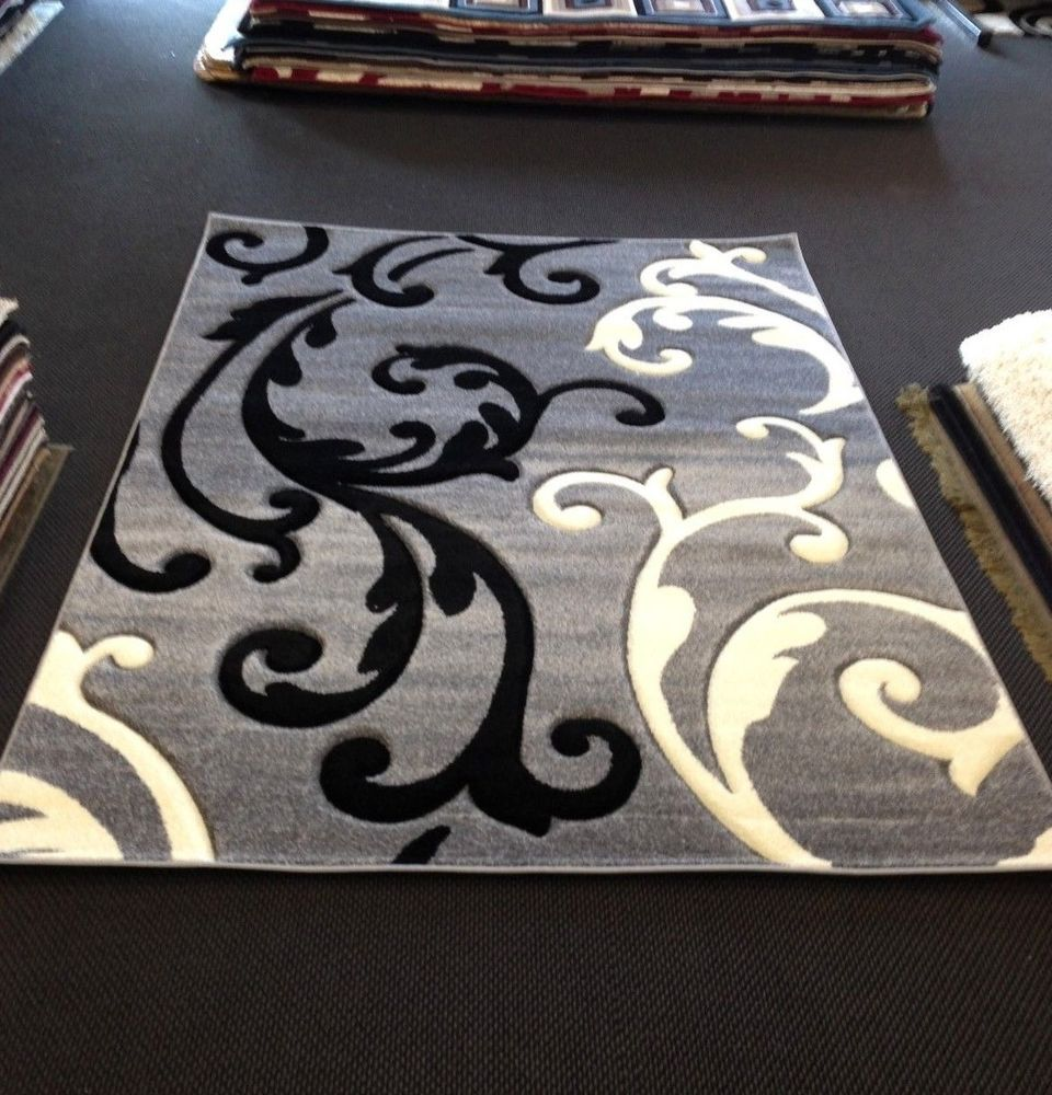 Gray Black Amp White Transitional Contemporary Modern Area Rug Carpet Leaf Pattern Contemporary Grey And White