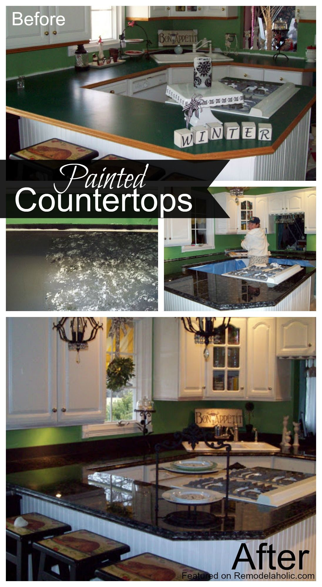 Painted Countertop Tutorial. She puts glitter under the resin ...