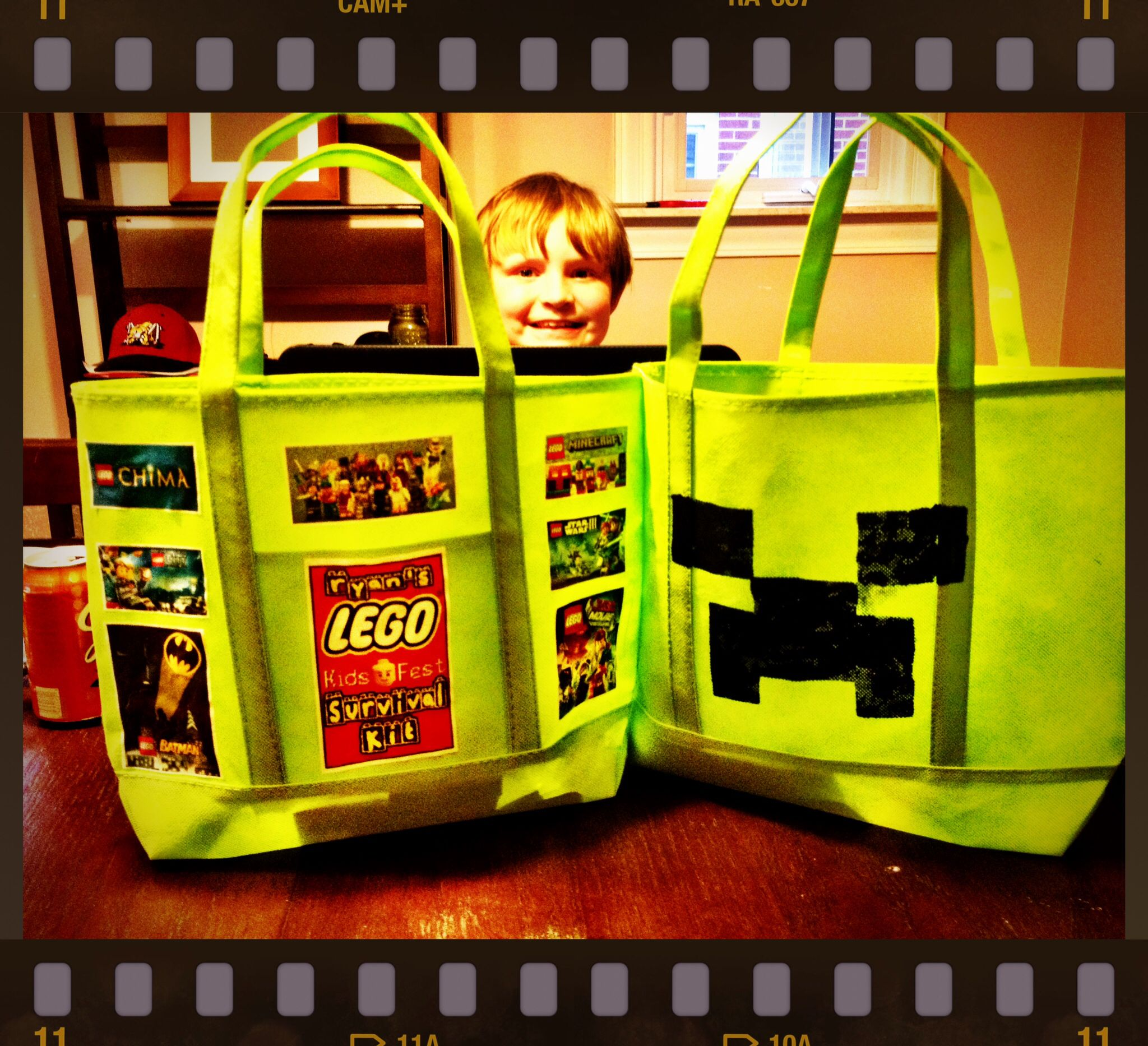 Lego kids fest survival bags for Ry's sleepover and outing. Can't wait!  Personalized of course ... And had to throw a creeper on the back for good measure ;)