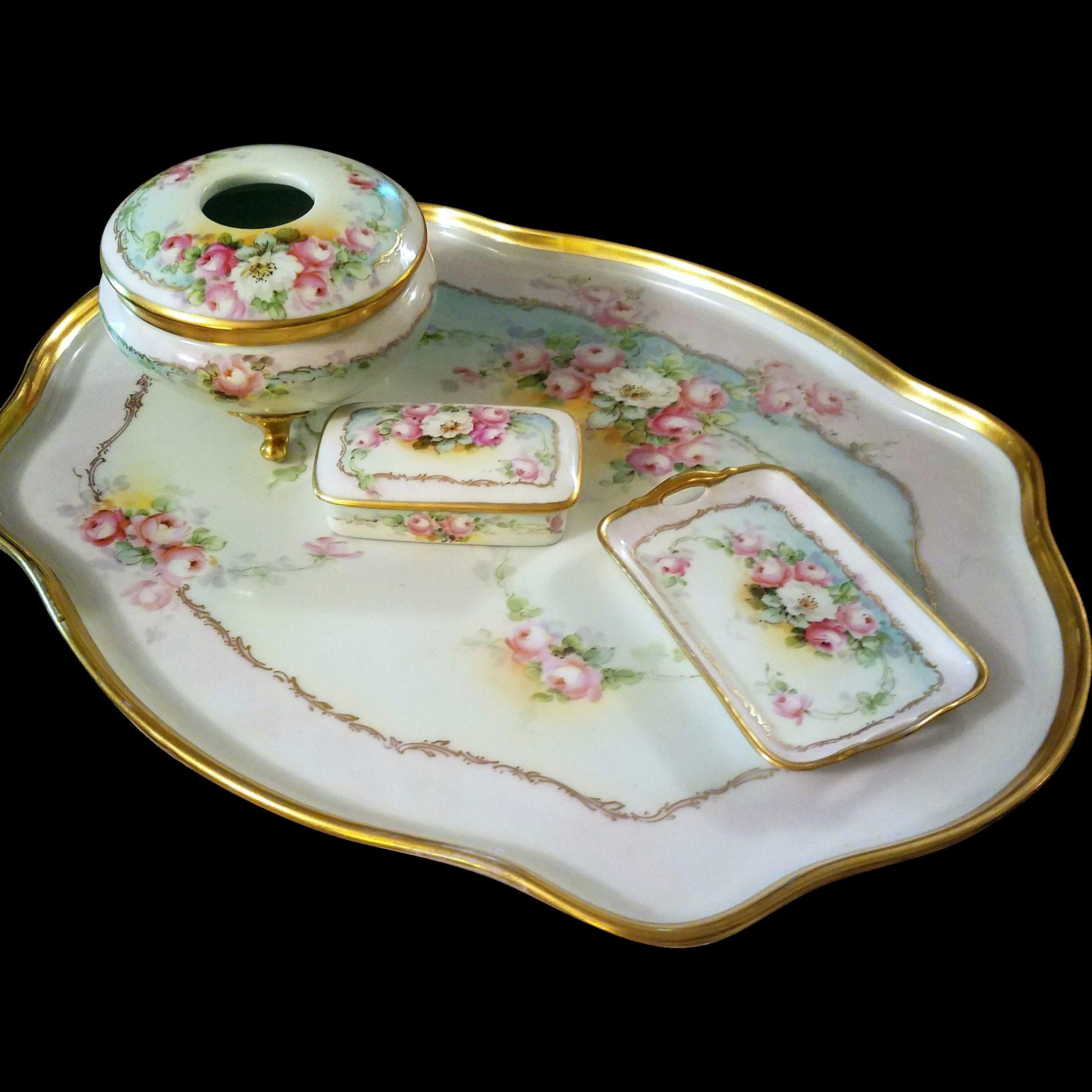 Limoges hand painted rose dresser tray set artist signed dresser