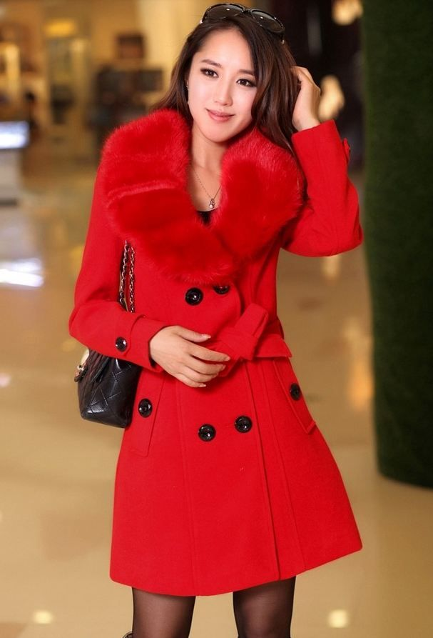 4d48eb2148f3 Red Coat Rich Fur Collar Winter Over Coats Red Woolen Jackets on ...
