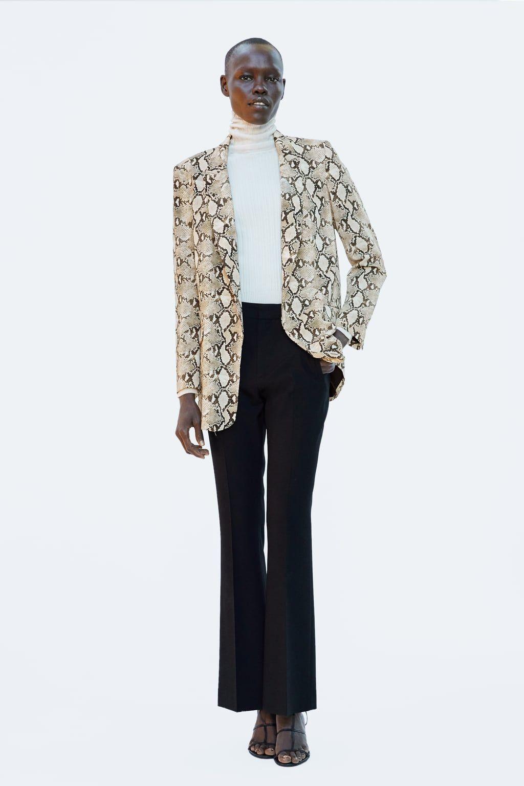8a7b8c2e46fb Image 1 of SNAKESKIN PRINT BLAZER from Zara   foxy attire   Printed ...