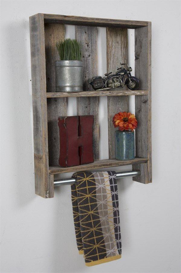 Reclaimed Wood Bathroom Shelf Towel Rod With Images Bathroom