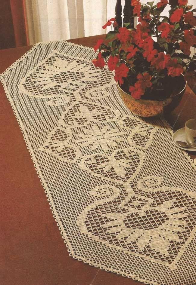 Patr n 451 camino de mesa a crochet ctejidas http - Camino de mesa elegante en crochet ...
