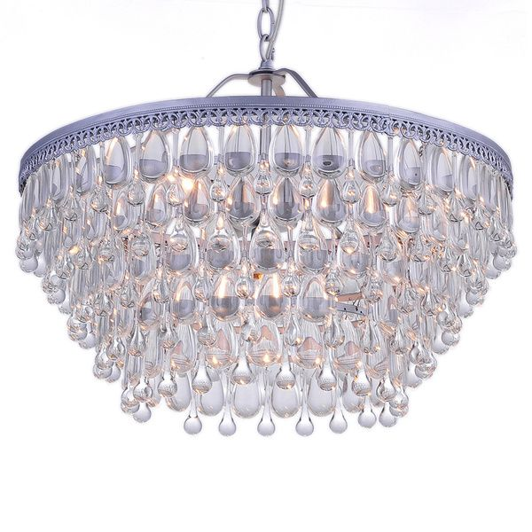 Wesley Crystal 6light Chandelier with Clear Teardrop Beads 165 – Crystal Beads for Chandelier