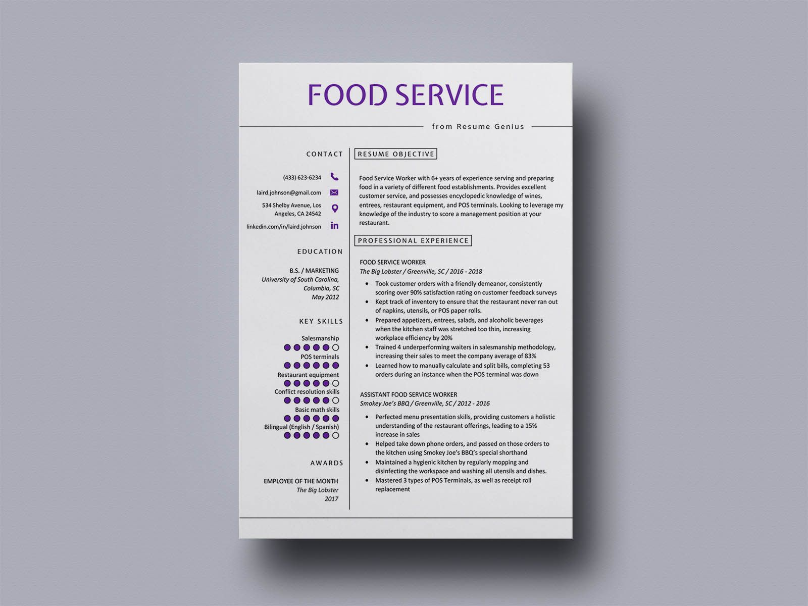 Free food service resume template resume template free