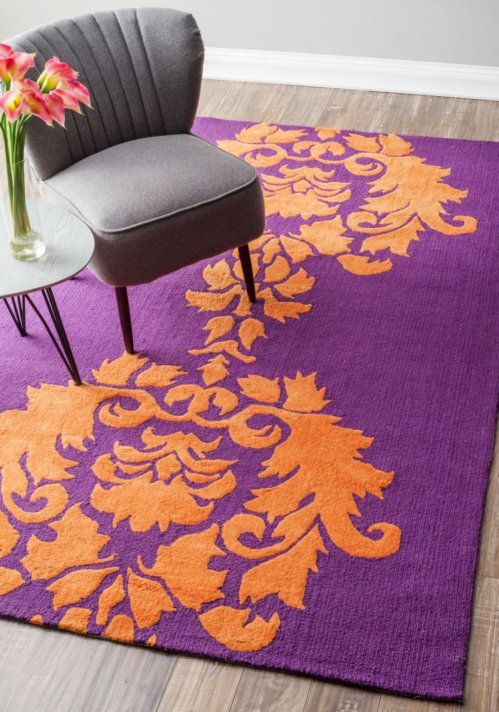 Rugs On Sale Oh No Oh No Damask Purple And Orange Rug Bedroom Orange Damask Decor Purple Rug