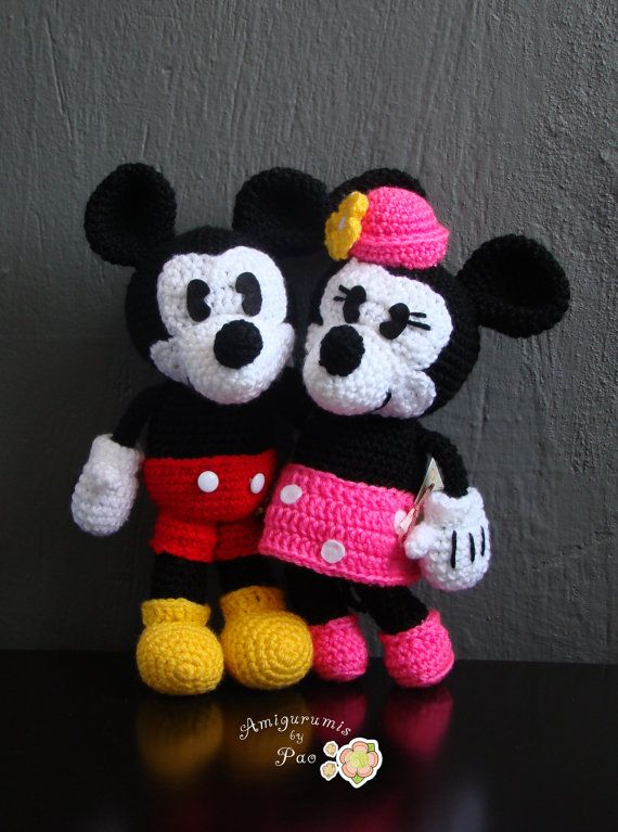 Pack Mickey and Minnie Mouse Amigurumi Pattern | Pinterest | Häkeln