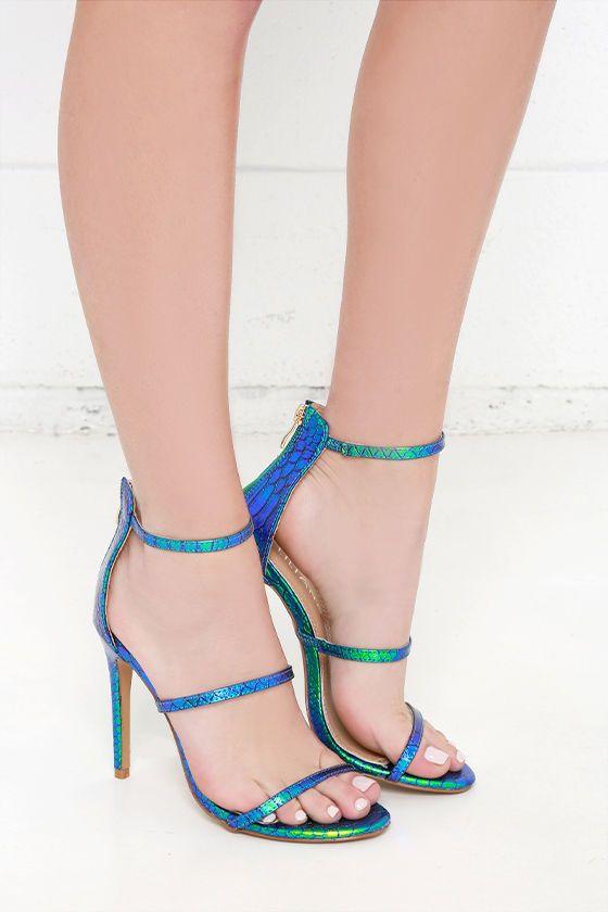 Three Love Green Hologram Dress Sandals at Lulus.com!