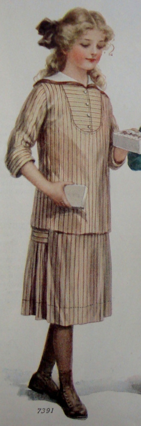 Girl's Tan and Brown Striped Dress with Sailor Collar  Ladies Home Journal  (January, 1913) back