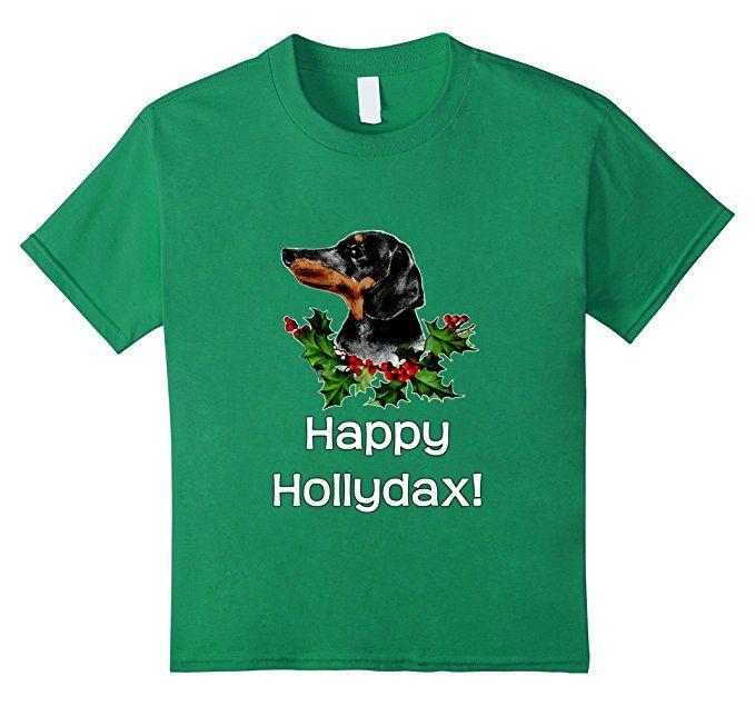 Kids Happy Hollydax Christmas Dachshund T-Shirt Holidays 10 Kelly Green