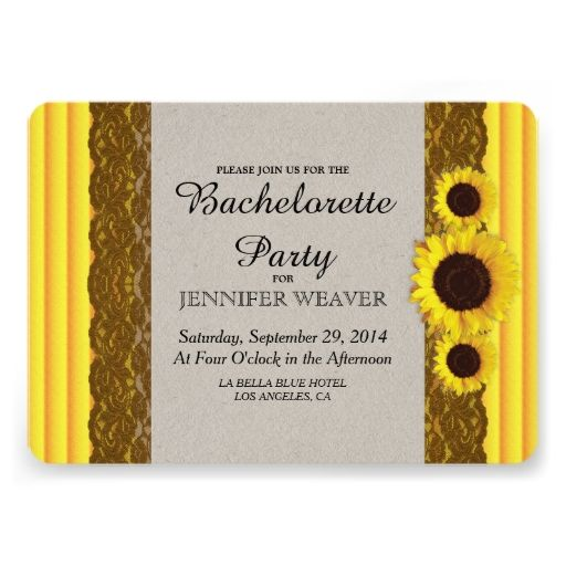 Sunflower, Stripes, and Brown Lace Personalized Invites
