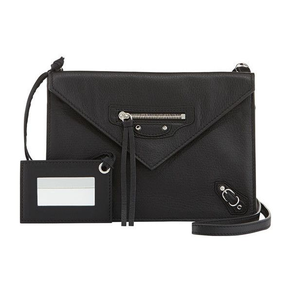 Balenciaga Papier Envelope Crossbody Bag (17 065 ZAR) ❤ liked on Polyvore featuring bags, handbags, shoulder bags, black, black crossbody, leather purse, black leather shoulder bag and leather shoulder bag