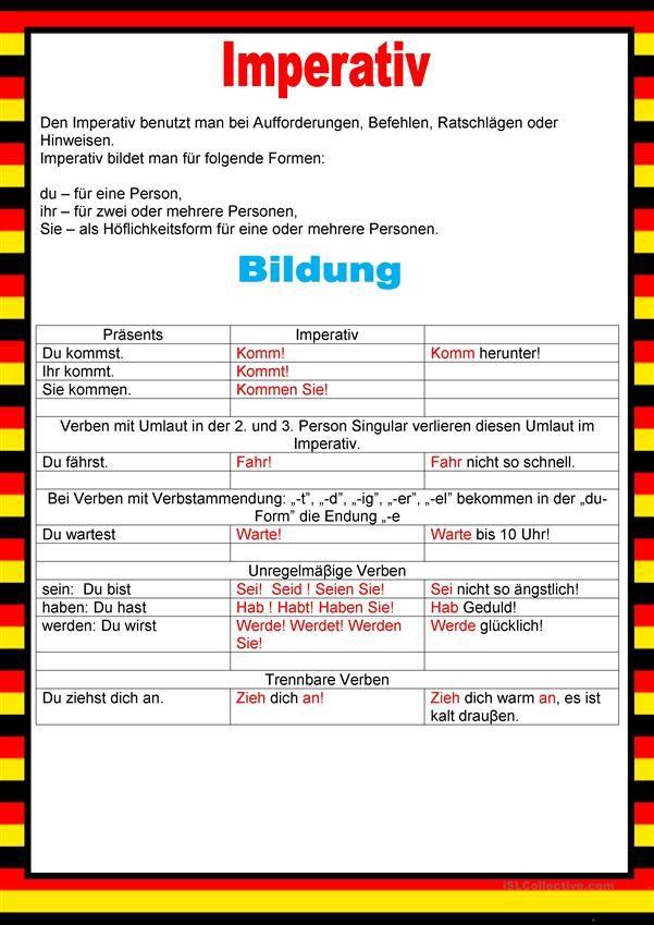 Willkommen auf Deutsch - Imperativ | German teacher | Pinterest ...