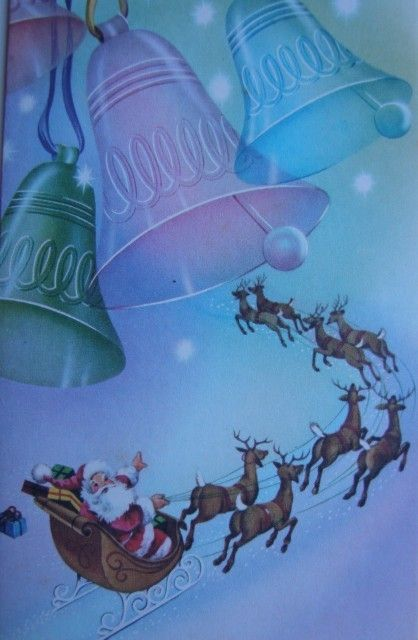 Vintage Santa rides away under the Christmas bells