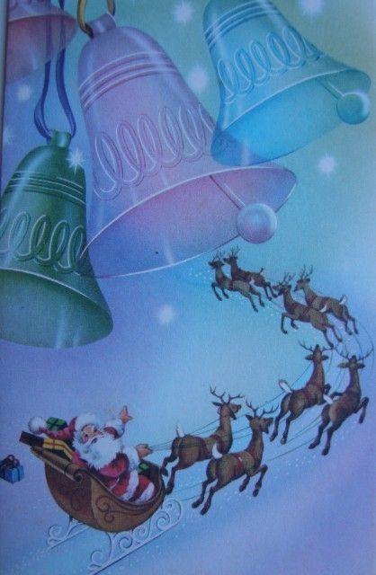Vintage Santa rides away under the Christmas bells