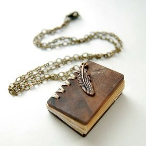 Book&feather necklace