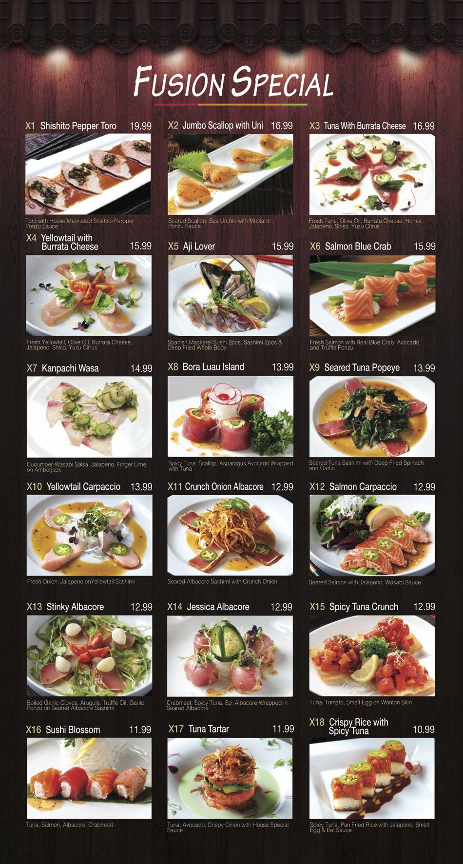 Menu Fusion Sushi Japanese Restaurant Manhattan Beach
