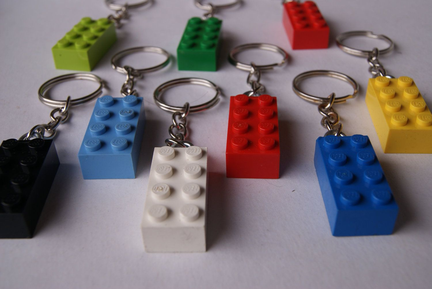 lego keychain - blue/yellow/red/green/black/white - upcycled