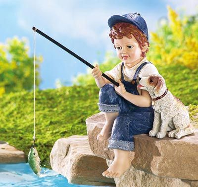 Little Boy Fishing Outdoor Garden Pond Sculpture From Collections Etc Boy Fishing Dog Garden Statues Outdoor Statues