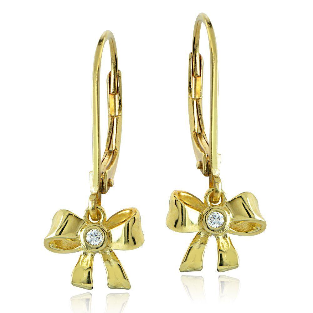Icz Stonez 18k Gold Over Silver Cubic Zirconia Ribbon Bow Children S Leverback Earrings Yzel974 Size Small Yellow Sensitive Earsribbon